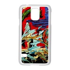 Blue Flamingoes 6 Samsung Galaxy S5 Case (white)