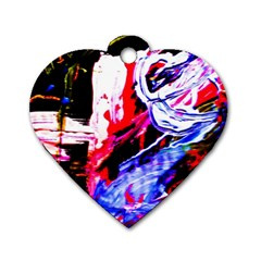 Blue Flamingoes Dog Tag Heart (two Sides) by bestdesignintheworld