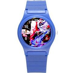 Blue Flamingoes Round Plastic Sport Watch (s)