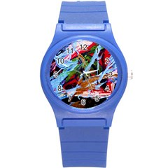 Blue Flamingoes 4 Round Plastic Sport Watch (s)