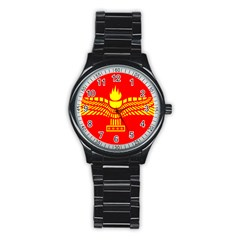 Aramean Syriac Flag Stainless Steel Round Watch by abbeyz71