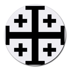 Black Jerusalem Cross  Round Mousepads