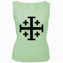 Black Jerusalem Cross  Women s Green Tank Top