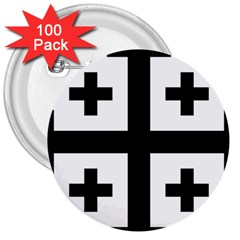 Black Jerusalem Cross  3  Buttons (100 Pack)  by abbeyz71