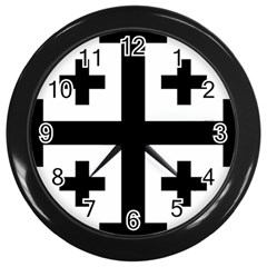 Black Jerusalem Cross  Wall Clocks (black)