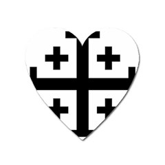 Black Jerusalem Cross  Heart Magnet by abbeyz71