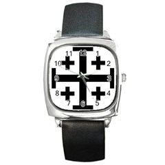 Black Jerusalem Cross  Square Metal Watch