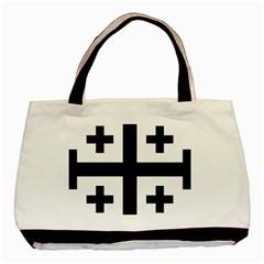 Black Jerusalem Cross  Basic Tote Bag