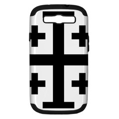 Black Jerusalem Cross  Samsung Galaxy S Iii Hardshell Case (pc+silicone) by abbeyz71