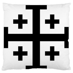 Black Jerusalem Cross  Large Flano Cushion Case (one Side)
