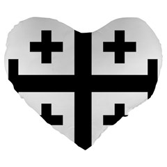 Black Jerusalem Cross  Large 19  Premium Flano Heart Shape Cushions by abbeyz71