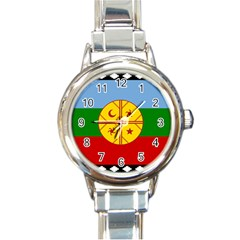 Flag Of The Mapuche People Round Italian Charm Watch