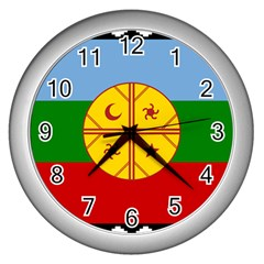 Flag Of The Mapuche People Wall Clocks (silver)  by abbeyz71