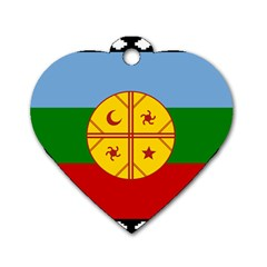 Flag Of The Mapuche People Dog Tag Heart (one Side)