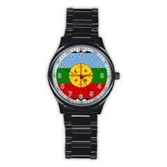 Flag Of The Mapuche People Stainless Steel Round Watch by abbeyz71