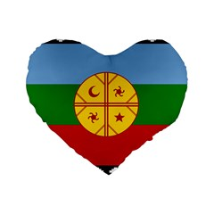 Flag Of The Mapuche People Standard 16  Premium Flano Heart Shape Cushions by abbeyz71