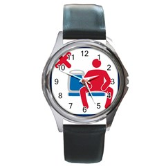No Manspreading Sign Round Metal Watch