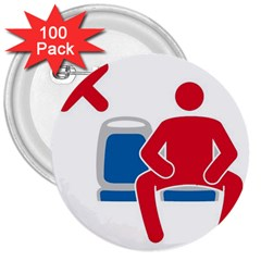 No Manspreading Sign 3  Buttons (100 Pack)