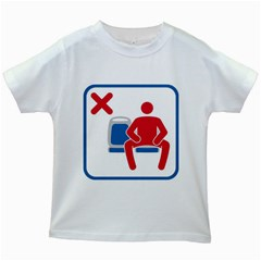 No Manspreading Sign Kids White T Shirts