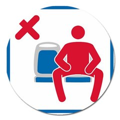No Manspreading Sign Magnet 5  (round)