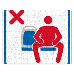 No Manspreading Sign Rectangular Jigsaw Puzzl