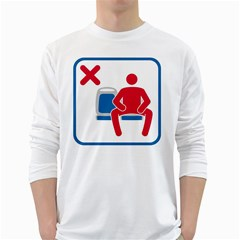 No Manspreading Sign White Long Sleeve T Shirts