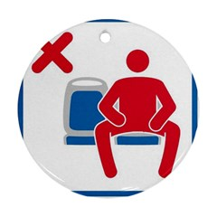 No Manspreading Sign Round Ornament (two Sides)