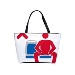 No Manspreading Sign Shoulder Handbags