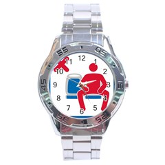 No Manspreading Sign Stainless Steel Analogue Watch