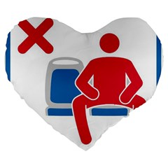 No Manspreading Sign Large 19  Premium Heart Shape Cushions