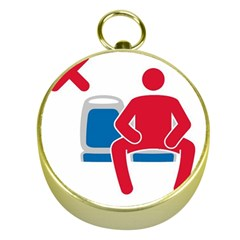 No Manspreading Sign Gold Compasses