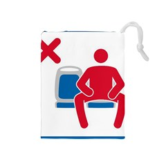 No Manspreading Sign Drawstring Pouches (medium)