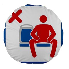 No Manspreading Sign Large 18  Premium Flano Round Cushions