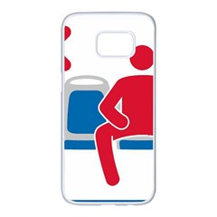 No Manspreading Sign Samsung Galaxy S7 Edge White Seamless Case