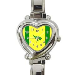 Flag Of Culebra Heart Italian Charm Watch