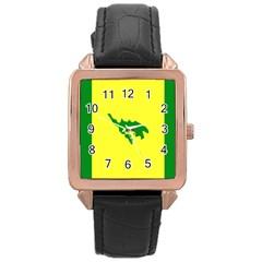 Flag Of Culebra Rose Gold Leather Watch