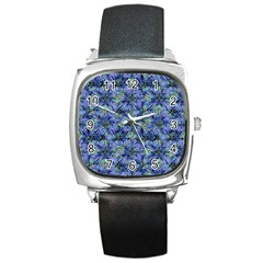Modern Nature Print Pattern 7200 Square Metal Watch by dflcprints