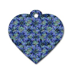 Modern Nature Print Pattern 7200 Dog Tag Heart (one Side)