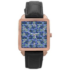 Modern Nature Print Pattern 7200 Rose Gold Leather Watch  by dflcprints