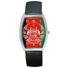 Flag Of Afghanistan Barrel Style Metal Watch