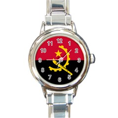 Flag Of Angola Round Italian Charm Watch