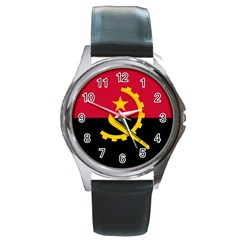 Flag Of Angola Round Metal Watch