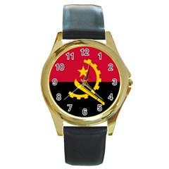 Flag Of Angola Round Gold Metal Watch