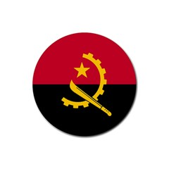 Flag Of Angola Rubber Coaster (round)