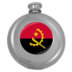 Flag Of Angola Round Hip Flask (5 Oz)