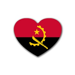 Flag Of Angola Heart Coaster (4 Pack)