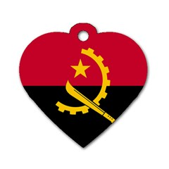 Flag Of Angola Dog Tag Heart (two Sides)