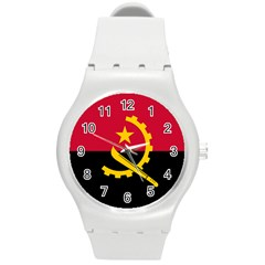 Flag Of Angola Round Plastic Sport Watch (m)