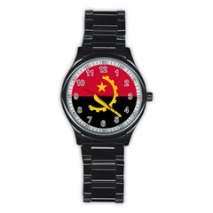 Flag Of Angola Stainless Steel Round Watch