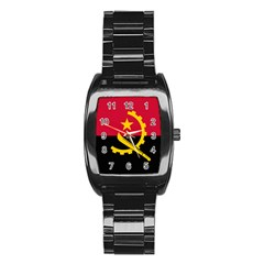 Flag Of Angola Stainless Steel Barrel Watch
